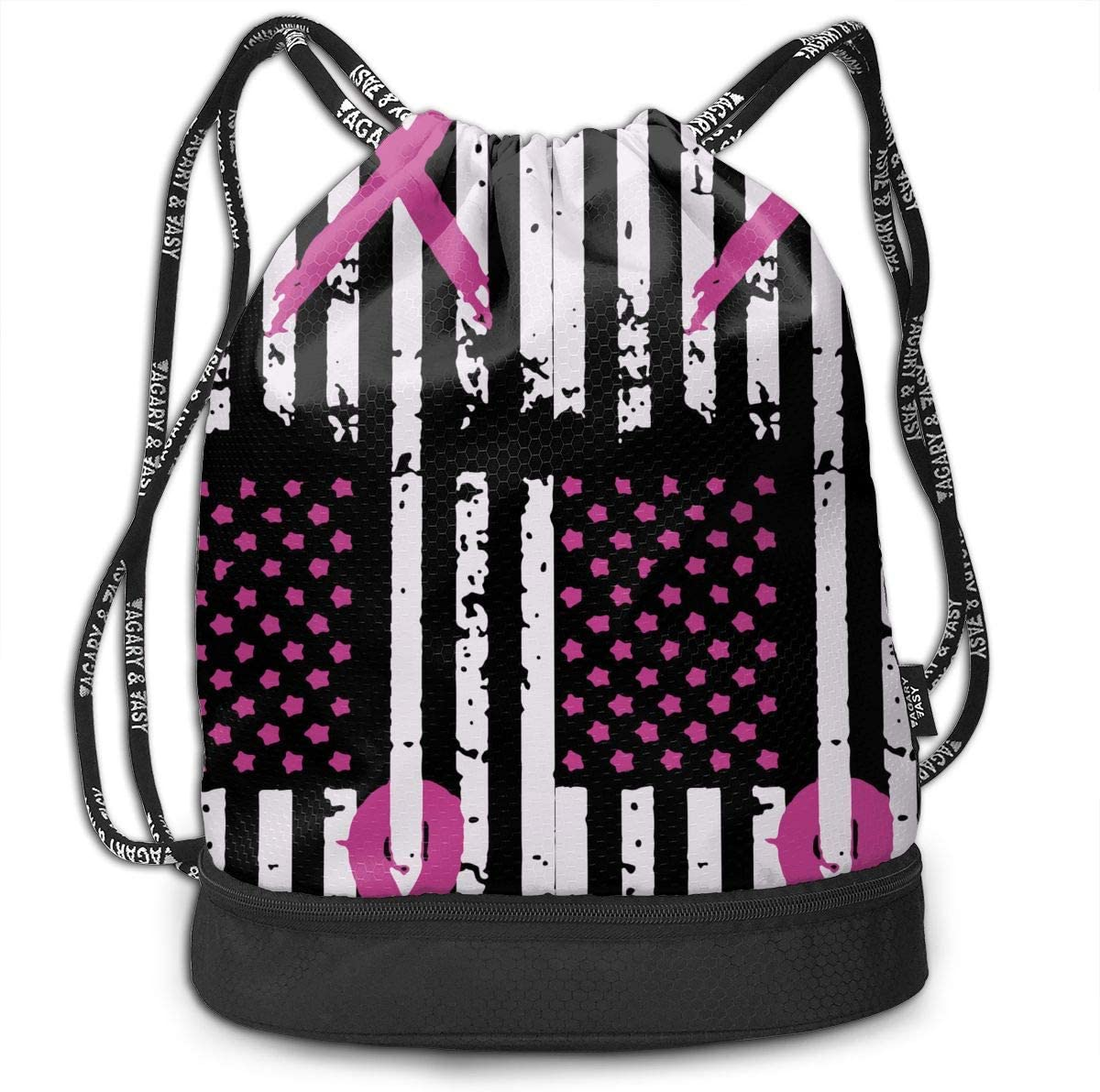 Drawstring Backpack Pink Ribbon Breast Cancer Awareness Flag Rucksack