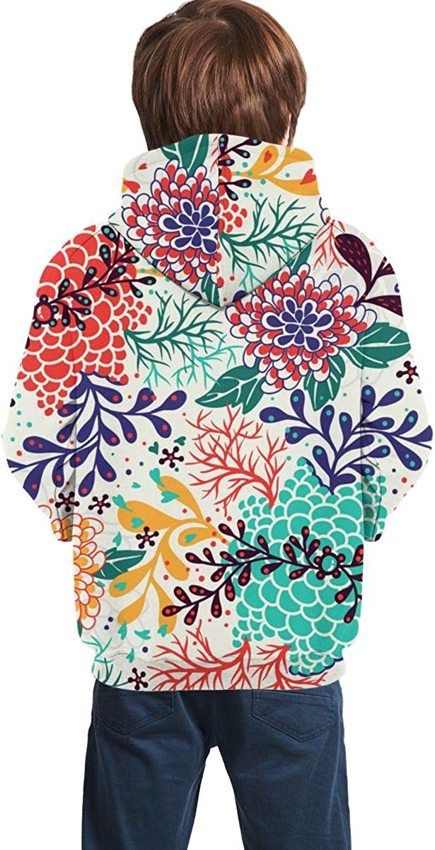 Lichenran Chrysanthemum Pattern Unisex Pullover Teens Hoodie Hooded Sweatshirt Colorful
