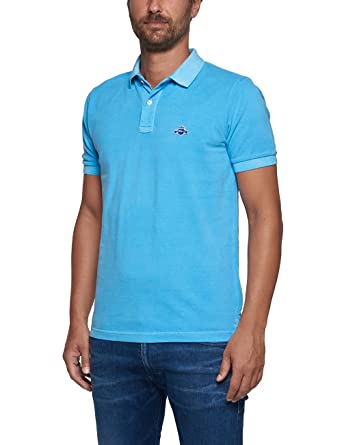 47027976b76e Replay Garment Dyed Pique Mens Polo Shirt S Azure  Amazon.co.uk ...