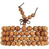 EVBEA Buddha Bracelet Wood Prayer Beads Bracelet Wooden Buddhist Necklace