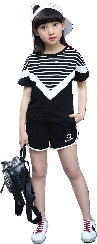 Girls Summer Cotton Korean Sports Suits T-Shirts Tops Shorts