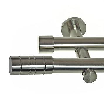 Edelstahl Look Gardinenstange ø 20mm Wandträger 2 Läufig Zweiläufig Wandbefestigung Zylinder H41 E34e30 Rr Länge140 Cm