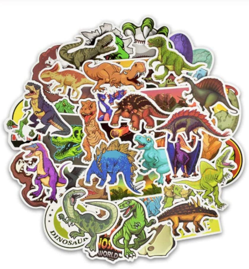 votgl Pegatinas 50 Piezas de Dibujos Animados Dinosaurio Pegatina Unicornio Flamenco Unicornio Juguete para niños Pegatinas Impermeables a DIY Scrapbooking Motocicleta Escritorio