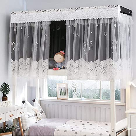 Cabin Bunk Bed Tent Curtain Cloth Dormitory Mid Sleeper Bed Canopy Spread Blacko