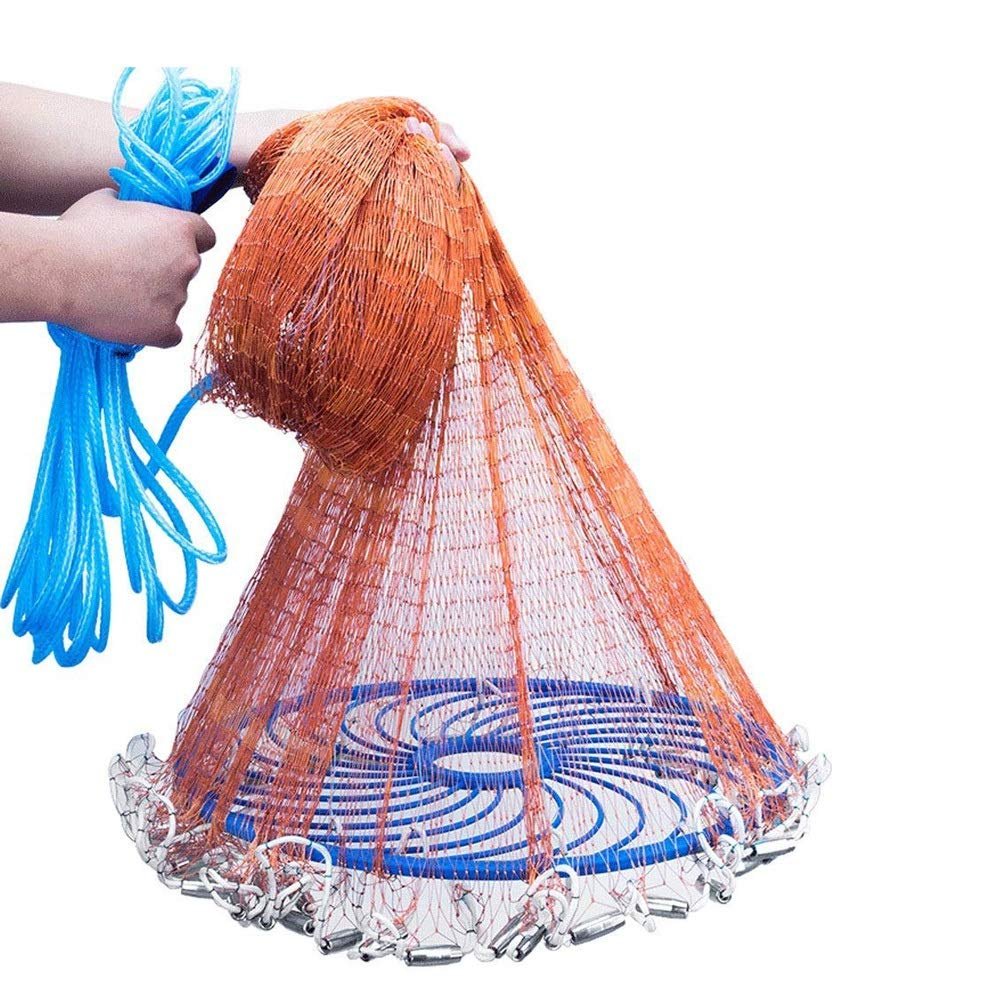 MYHXC Fishing Cast Net with Heavy Duty Sinker Weights, Fishing Throw Net for Bait Trap Fish by MYHXC
