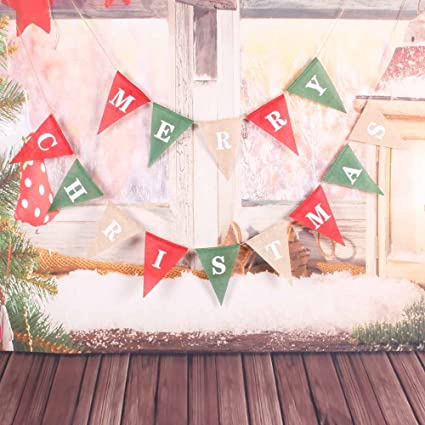 christmas decorations banner merry christmas burlap banner triangle christmas banner redgreen - Merry Christmas Burlap Banner