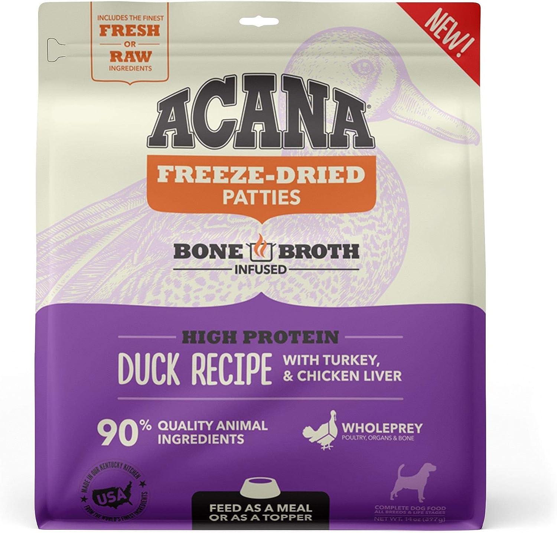 ACANA Grain Free High Protein Fresh & Raw Animal Ingredients Duck Recipe Freeze Dried Patties Dog Food, 14 oz.