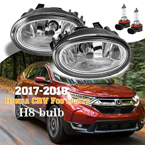 Amazon.com: Chrome Trim 2017-2018 Honda CRV CR-V Bumper Fog Lights Driving Lights With H8 Bulbs (Left+Right): Automotive