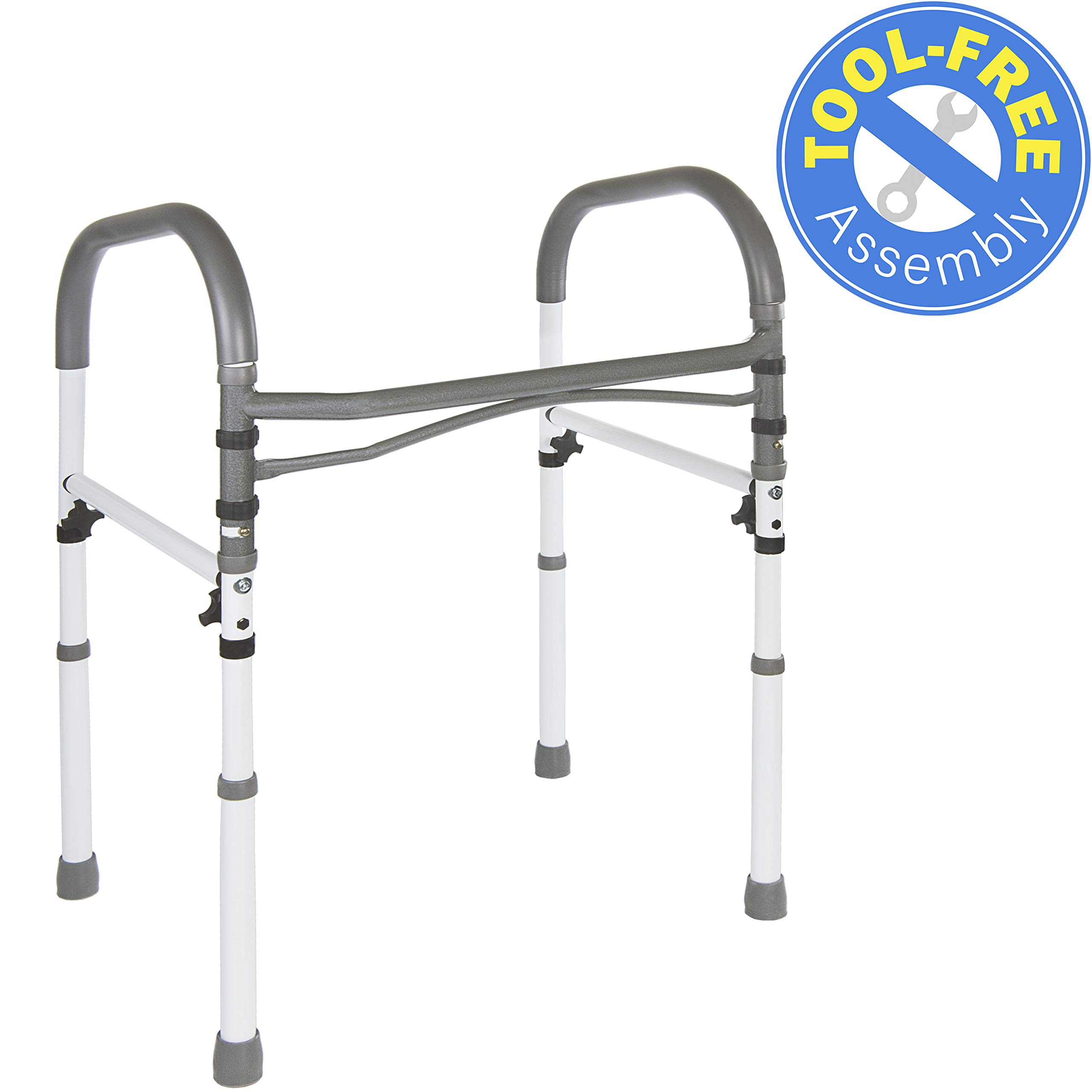 Vaunn Deluxe Bathroom Safety Toilet Rail - Adjustable Toilet Safety Frame - Medical Handrail Assist Grab bar Handle by Vaunn