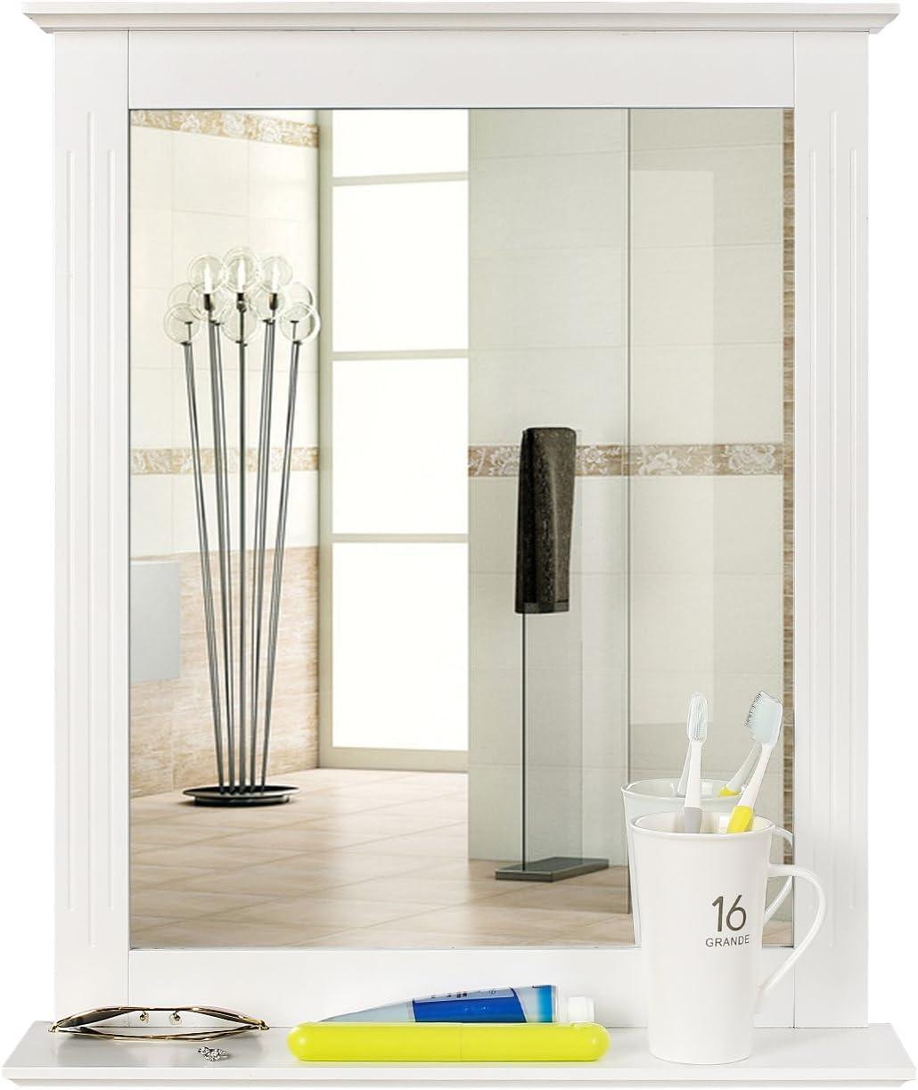 bathroom mirror with a shelf