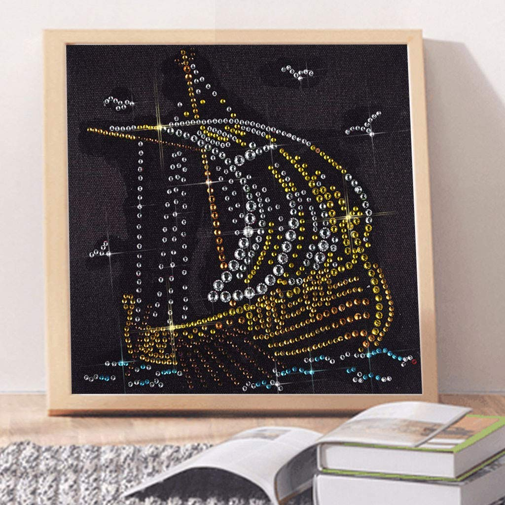 MOTOCO DIY 5D Fluorescent Diamond Painting DIY Partial Drill Cross Stitch Kits Crystal Rhin(A:Pigeon)