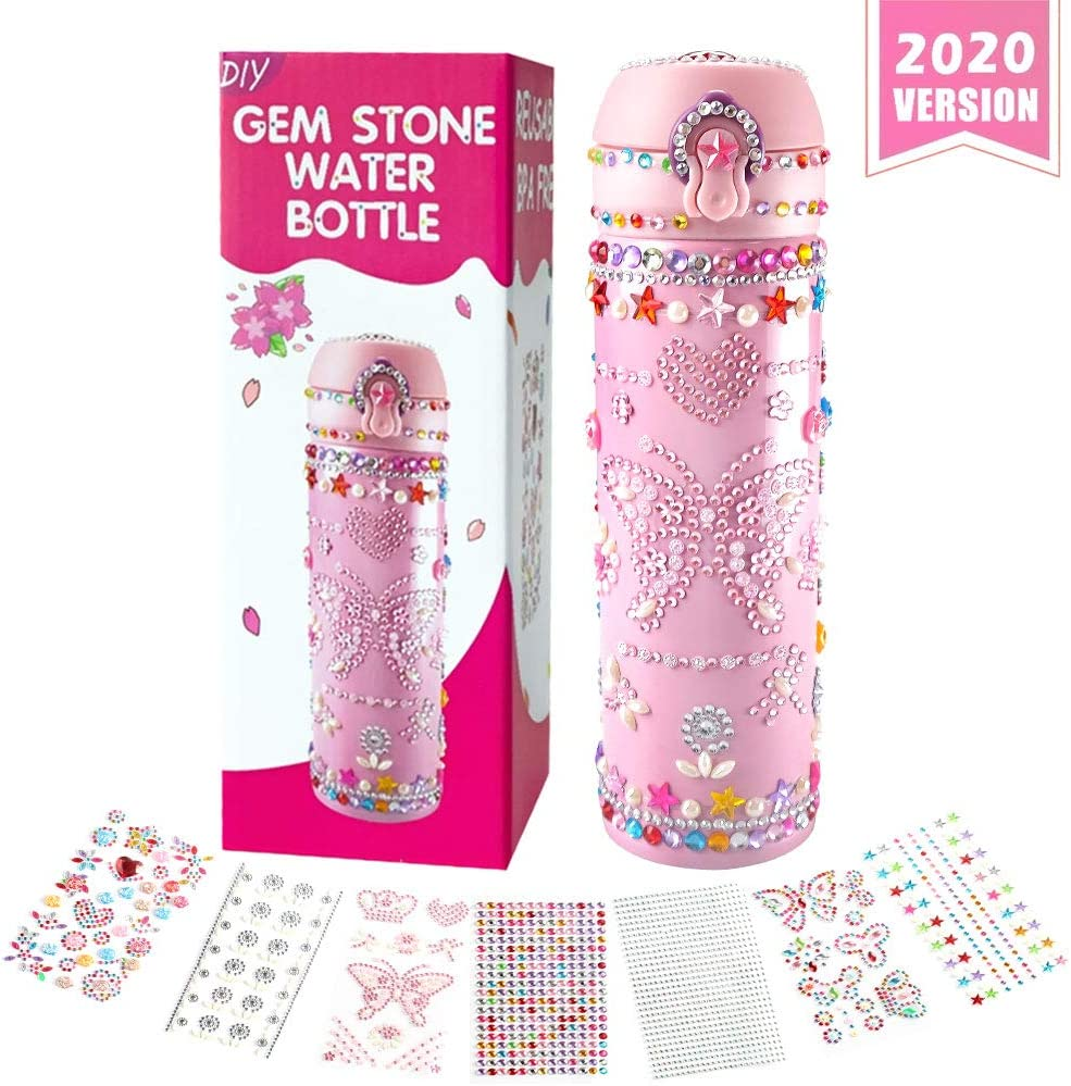 Kids Water Bottle Decorate & Personalize Your Own Water Bottle with Tons of Rhinestone Glitter Gem Stickers,Fun DIY Art Craft Kit for Children,18 OZ BPA Free Stainless Steel Vacuum Insulated Mug