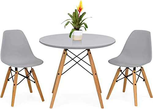 Best Choice Products Kids Mid-Century Modern Dining Room Round Table Set w 2 Armless Chair