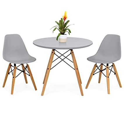 34fbfb66cb06 Amazon.com - Best Choice Products Kids Mid-Century Modern Eames Style Dining  Room Round Table Set w  2 Armless Wood Leg Chairs - Gray - Table   Chair  Sets
