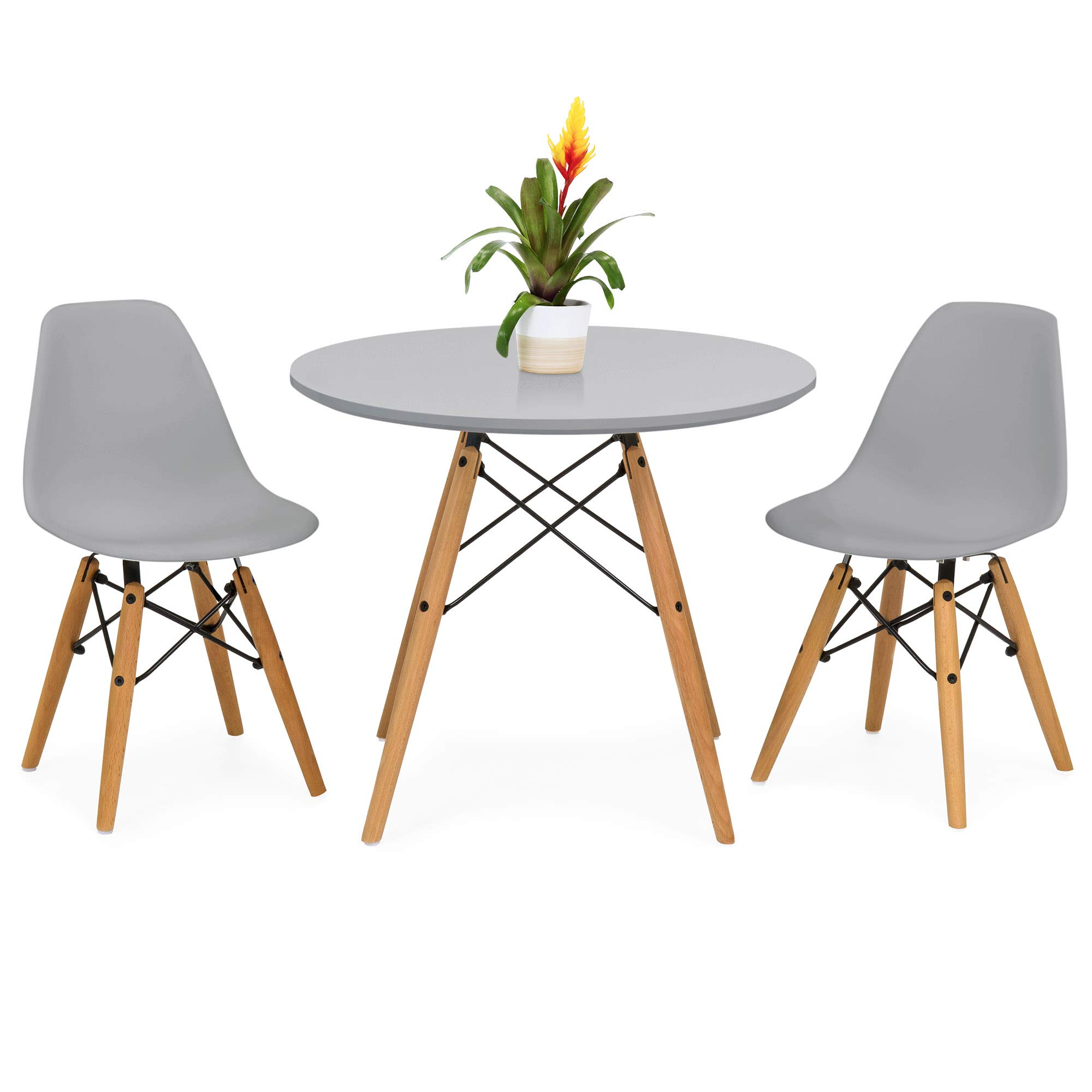 Best Choice Products Kids Mid-Century Modern Eames Style Dining Room Round Table Set w/ 2 Armless Wood Leg Chairs - Gray