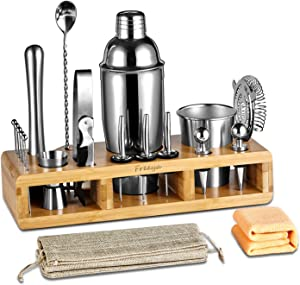Complete 21-Pieces Bartender Kit, Freeya Premium Cocktail Bar Shaker Set , Stainless Steel Bar Tools / Bar Accessories -Beautiful Cocktail Shaker Set with Bamboo Stand, Storage Bag and Towel
