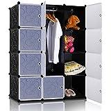 Lifewit Armoire à Vêtement avec 12 Cubes DIY en Plastique Résine Penderie Rangement Amovible Noir et Blanc