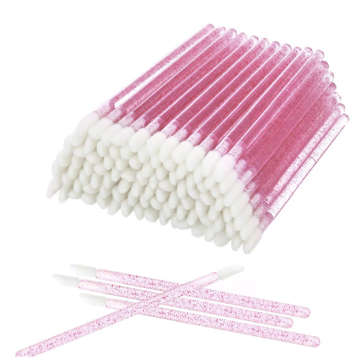 Elisel 100 Pcs Disposable Crystal Lip Brushes Make Up Lip Brushes Lipstick Lip Gloss Wands Eyeshadow Brushes Applicator Tool Makeup Beauty Tool Kits (Rose): Beauty