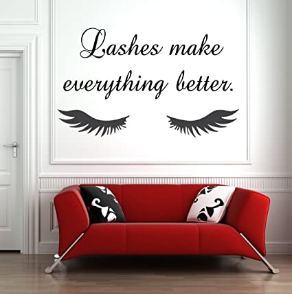 282e535fcb1 Room Wall Decor Stickers Lashes Eyelashes Eyebrows Brows Beauty Salon Decor  Wall Decal Sticker Eye Quote Make Up: Amazon.co.uk: DIY & Tools