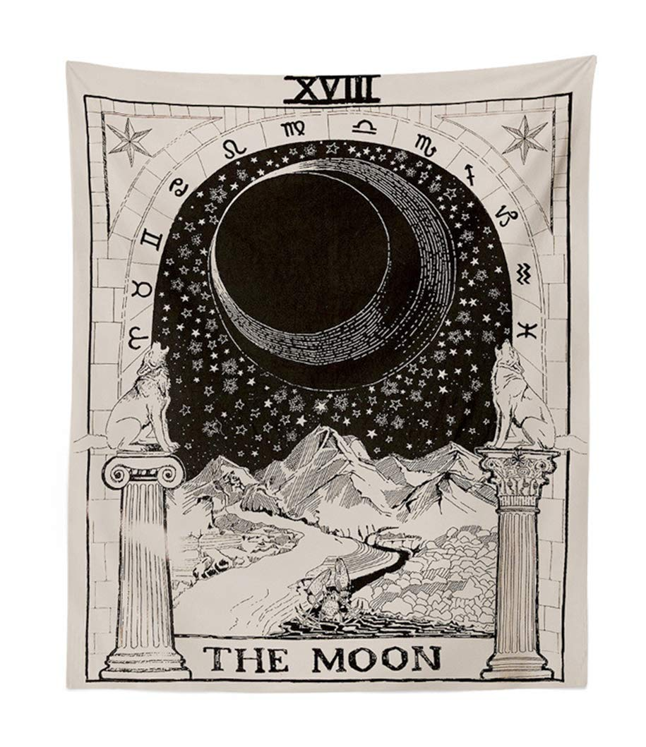 Mandala Blue, 51/×59 Amkun Tarot Wall Tapestry The Moon The Star and The Sun Tapestry Medieval Europe Divination Tapestry Wall Hanging Decorations Mysterious For Bedroom Home Decor