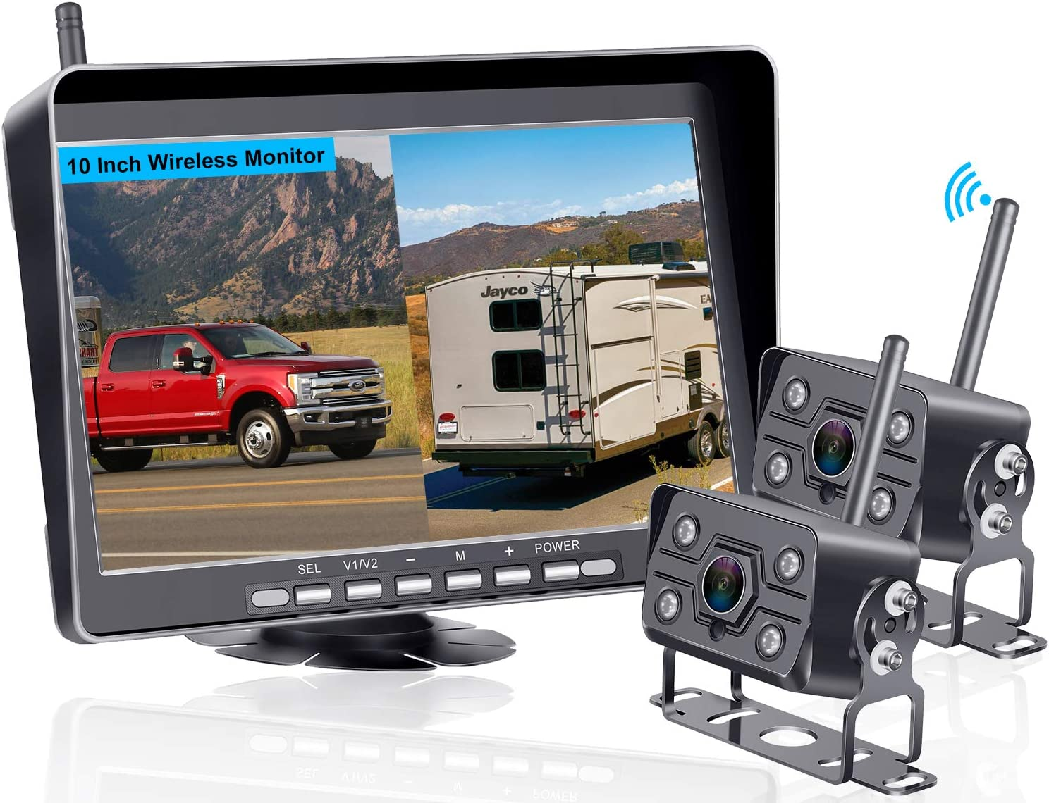 AMTIFO FHD 1080P 10'' Monitor RV Wireless Dual Backup Cameras for Trailers,5th Wheels,Motorhomes,Highway Monitoring Split/Quad Screen System with Recording Function,IP69K Waterproof - A10