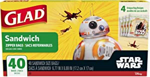 Glad Zipper Food Storage Sandwich Bags - Star Wars - 40 Count