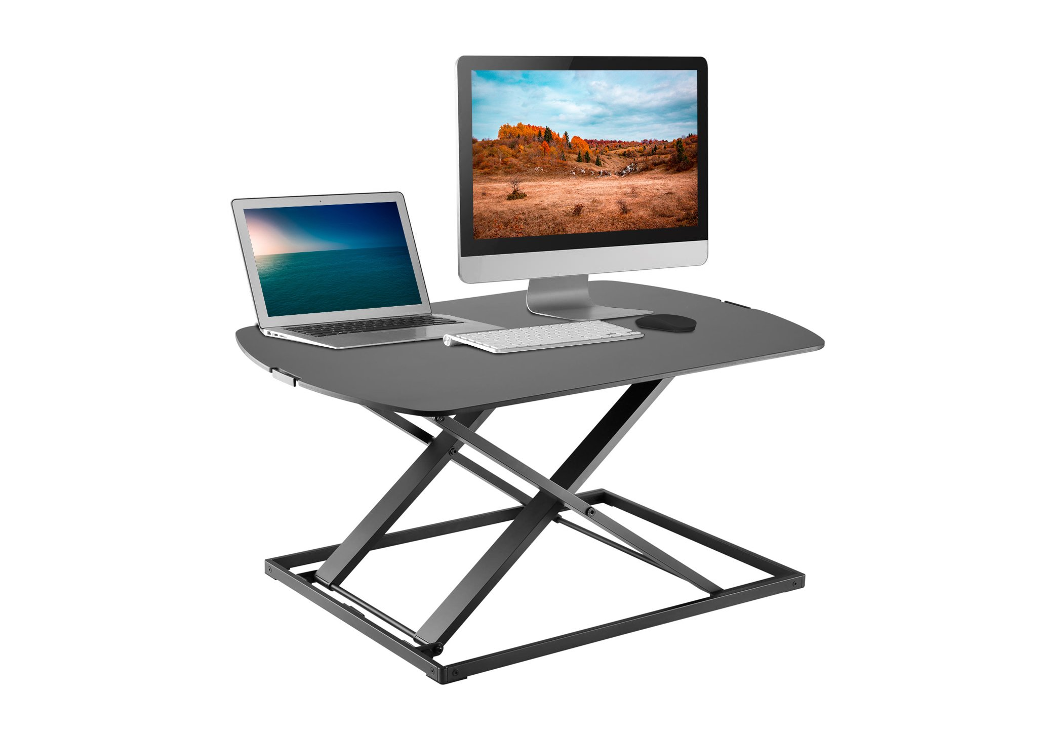 Height Adjustable Single Level Standing Desk - 31'' Wide Sit to Stand Desk Converter Fully Assembled Standing Workstation Riser Black