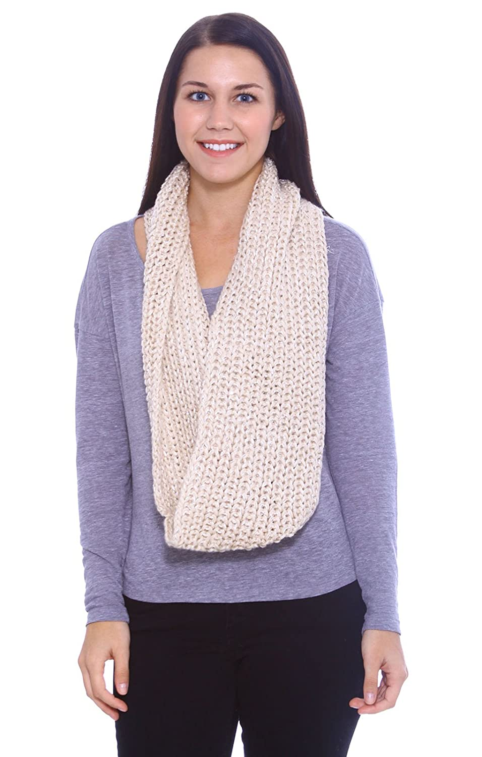 225284bb6 Womens InfinitySoft Winter Warm Thick Knitted Circle Loop Scarf Beige at  Amazon Women's Clothing store: