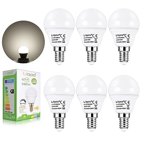 Liqoo® 6x 7W Bombilla LED E14 Globo Bulbo Lámpara Regulable Bajo Consumo Blanco Neutral Natural