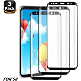 Atill Direct 3 Pack Tempered Glass Screen Protector, Anti-Scratch, Bubble-Free, 9H Hardness for Samsung Galaxy S8 . (Black)