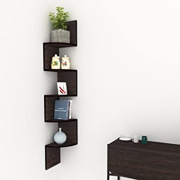 Tomasar 5 Tiers Corner Shelf Wall Mount Floating Hanging Bookshelf Unit Organizer Display Storage CD DVD