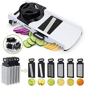 SAWAKE Mandoline Slicer Vegetable Slicer, 6-in-1 Multifunctional Vegetable Cutter Julienne Slicer Food Slicer, Foldable Cheese Shredder Grater for Fruits, Veggie, Potato, Tomato, Onion, Cucumber