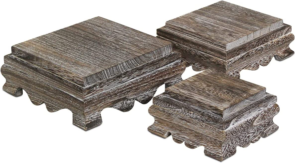 Ikee Design Wood Risers Display Risers Wood Cake Stand Square Risers Farmhouse Riser Risers, Wood Pedestal Stand Risers for Store, Home Décor and Tradeshow, Coffee Color