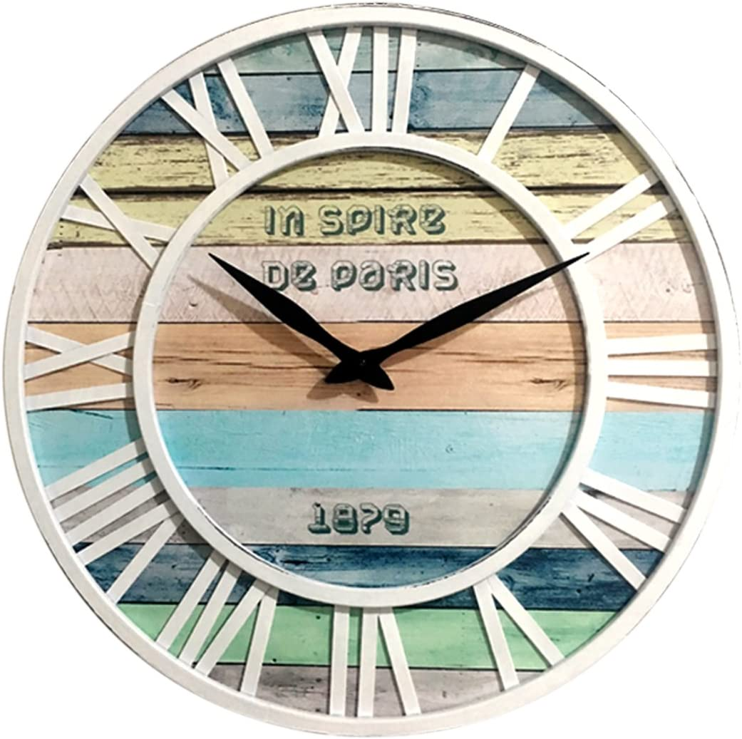 Foxom Madera Silencioso Vintage Redondo Reloj de Pared, 40CM, Blanco