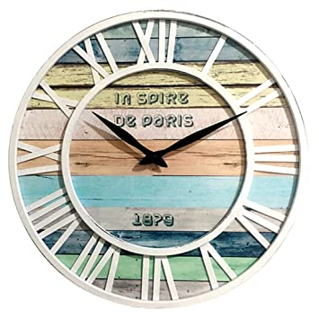 Lommer 40CM Grande Madera Reloj Pared Silencioso Vintage Redondo Reloj de Pared para Cocina, Salón, Dormitorio, Oficina, Cafetería, Bar, Hotel Decoración ...