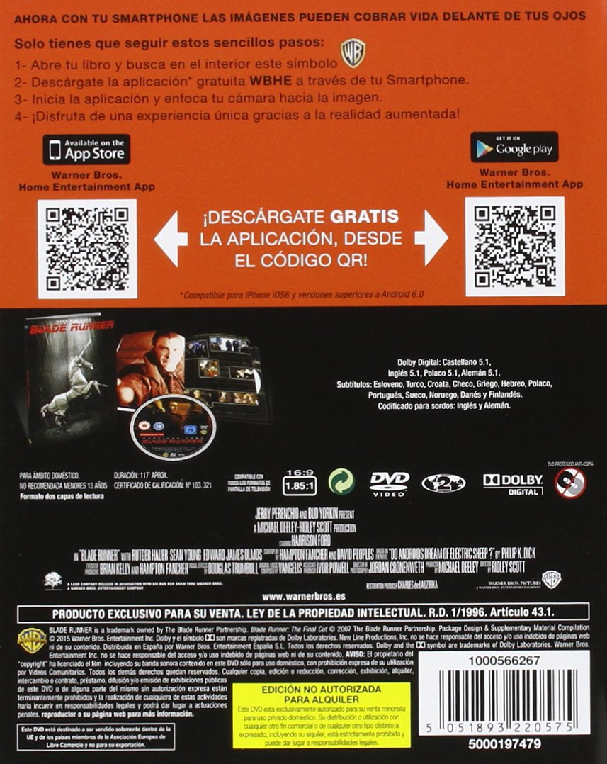 Blade Runner [DVD]: Amazon.es: Harrison Ford, Rutger Hauer ...