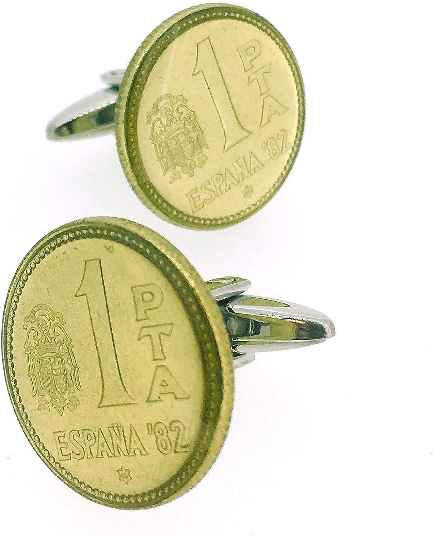 Gemelos para camisa Moneda 1 Peseta España 82 Rubia: Amazon.es: Ropa y accesorios