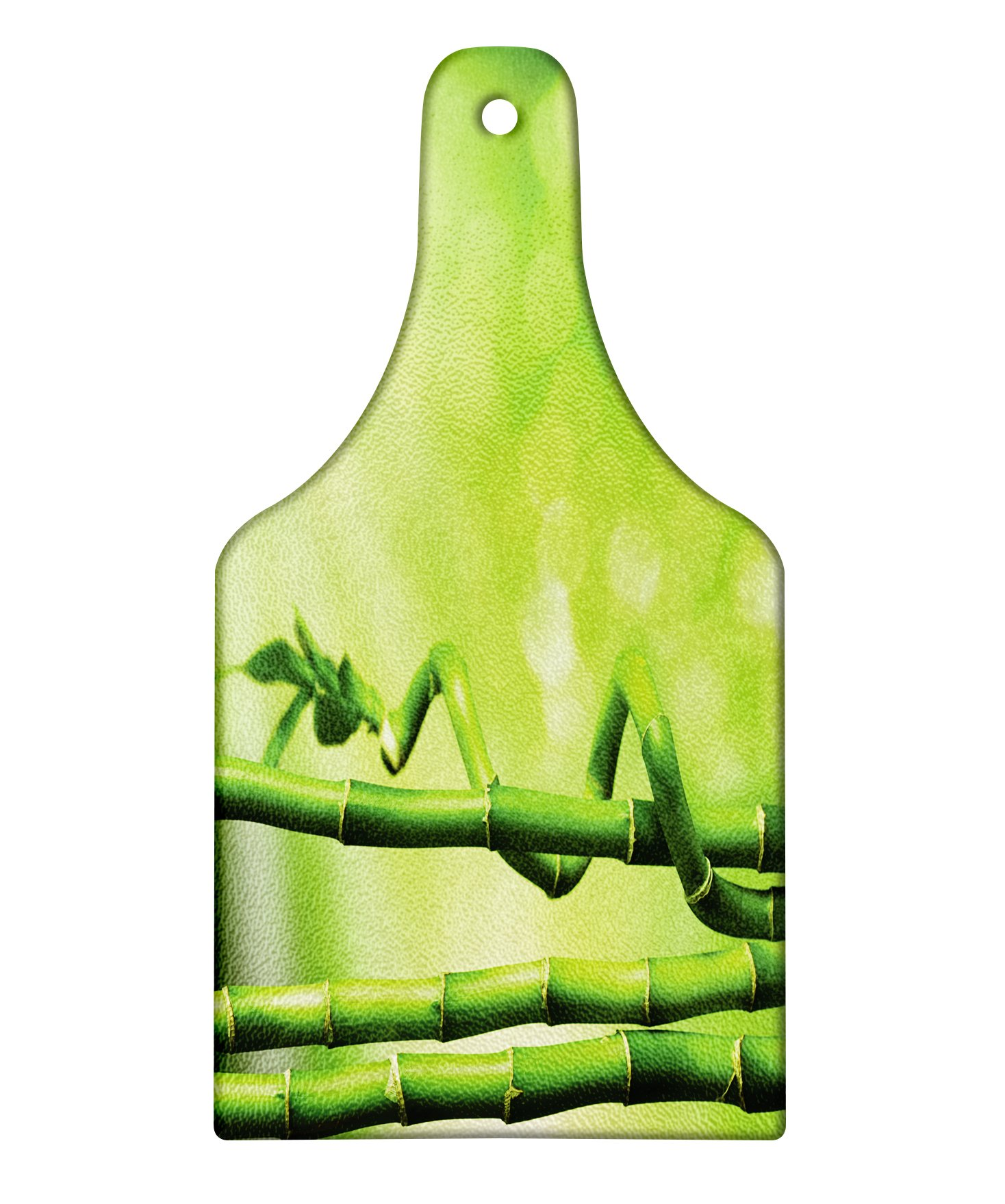 Lunarable Green Cutting Board, Bamboo Stems Nature Ecology Sunbeams Soft Spring Scenic Spa Health Relaxation, Decorative Tempered Glass Cutting and Serving Board, Wine Bottle Shape, Green Pale Green