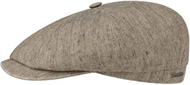 Stetson Hatteras Coated Linen Flat Cap Men