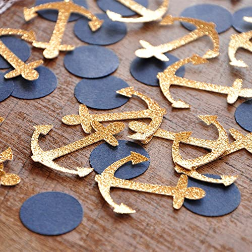 Nautical Baby Shower Decorations. Glitter Gold Anchor Confetti 2 Packs  (50ct Each)