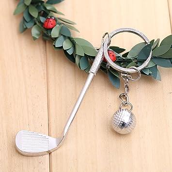 Forfar 1 PC Regalo creativo del llavero del golf 3D Llavero de metal colgante de bola de golf Llavero