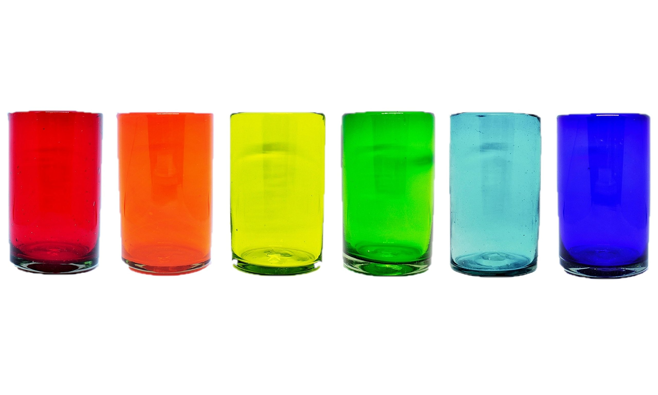 Mexican Blown Glass Drinking Glasses 'Rainbow' (Set of 6)