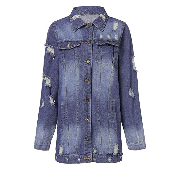ZHRUI Chaqueta de Mezclilla para Mujer descolorida Abrigo Desgastado Desgastado y Desgastado de Fitt (Color : Blue3, tamaño : Metro): Amazon.es: Hogar