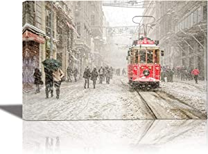 EuroGraphics Beyoglu Istanbul Turkey Painting Artwork for Home Decor Framed 24x36 inches Canvas Wall Art 24 x 647, 635 x 36 inch, Grey,Cream,RED,Sapphire,Pink