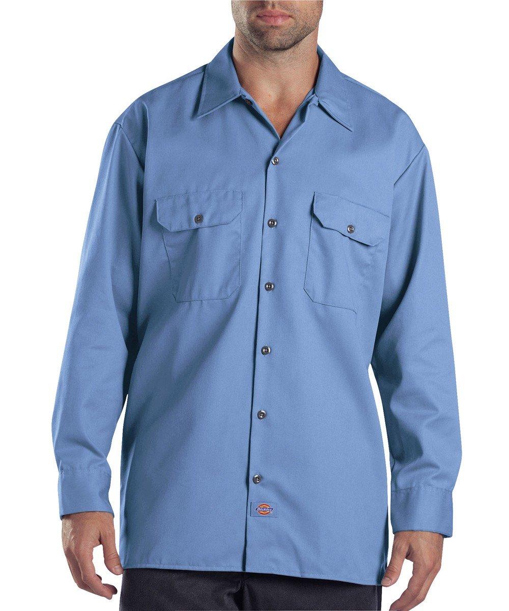 Dickies Men's Long-Sleeve Work Shirt (Large - 2 Pack, Gulf Blue)