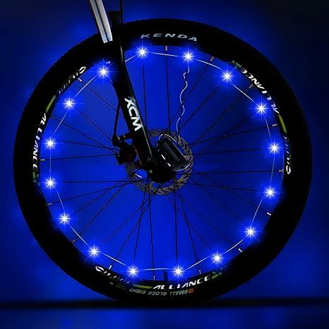 Cade - Luces para Rueda de Bicicleta con Pilas, Resistente al Agua, 20 Luces LED para radios: Amazon.es: Deportes y aire libre