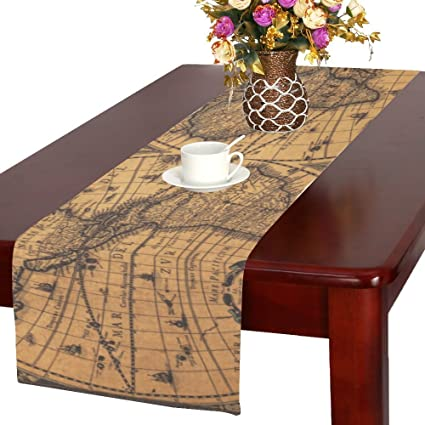 ADEDIY Home Table Runner On The Equator World Map Table Runner 16x72 Inch  Custom Table Decor