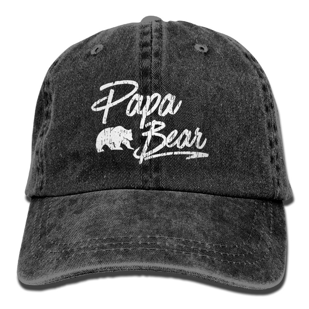 Papa Bear 3 Denim Hat Adjustable Women's Funny Baseball Hats