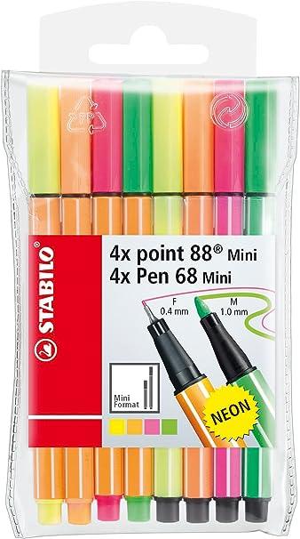 Rotulador punta fina STABILO point 88 mini y rotulador STABILO Pen 68 mini - Estuche con 4 colores neón de cada: Amazon.es: Oficina y papelería