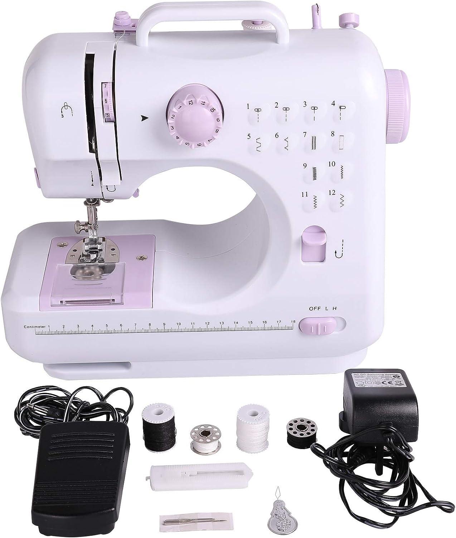 Sfeomi Maquina de Coser Electrica 12 Puntadas Mini Maquina de Coser Portatil con Luz de LED Sewing Machine para Ropa, Fundas de Almohadas, Sábanas